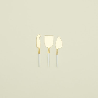 White + Gold Cheese Knife - Set of 3