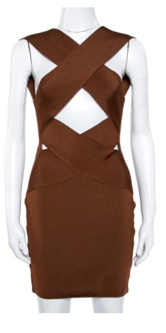 Brown Knit Crossover Detail Bodycon