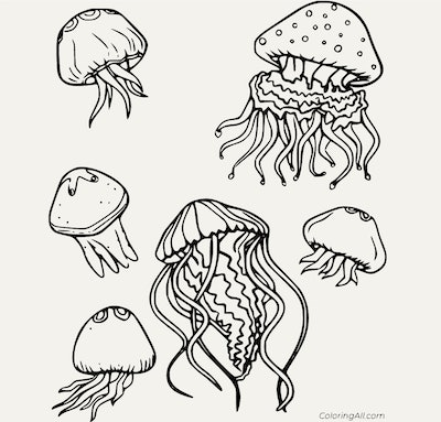 Black and white cartoon jellyfish coloring page; six jellyfish with different designs swimming toget...
