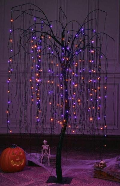 Glowing cobweb tree decoration