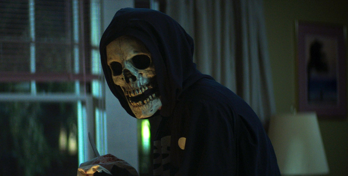"""The """"Skull Mask"""" character in Fear Street 1994 is silly looking, but surprisingly effective."""
