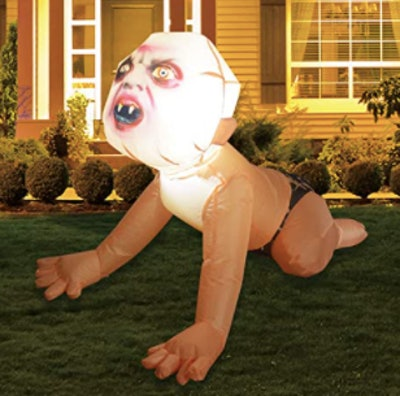 Blow up zombie baby yard decoration
