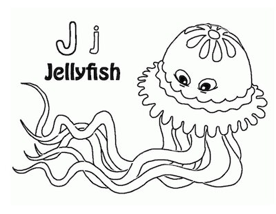 """Black and white cartoon jellyfish coloring page with a capital and lowercase """"J"""" and """"jellyfish"""" wri..."""