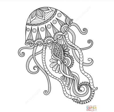 Jellyfish adult coloring page with intricate design and details