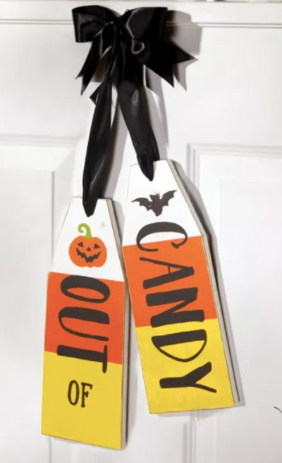 Out of candy door sign