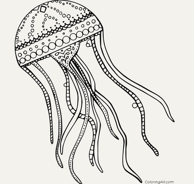 Black and white cartoon jellyfish adult coloring page; intricate designs and details