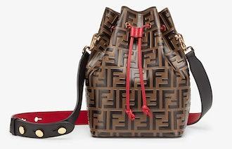 Fendi's original Mon Tresor bucket bag with red accents.