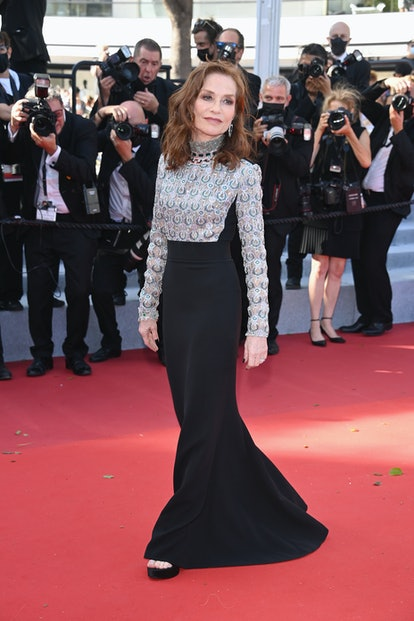 """Isabelle Huppert attends the """"Aline, The Voice Of Love"""" screening during the 74th annual Cannes Film Festival on July 13, 2021 in Cannes, France."""