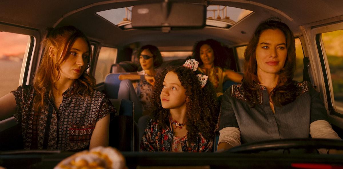 The cast of Gunpowder Milkshake listening to tunes in the car