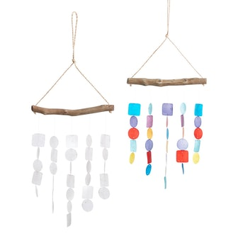 White And Rainbow Capiz And Wood Wind Chimes Set Of 2