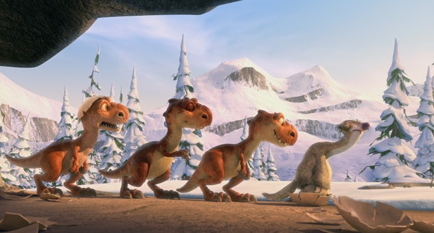 Ice Age: Dawn of Dinosaurs features creatures from both the Ice Age and the Cretaceous period.