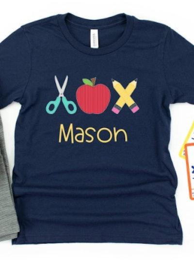 Personalized scissors, apple, pencils t-shirt