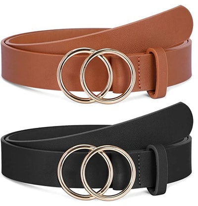 SANSTHS Belt with Double O-Ring Buckle (2 Pack)