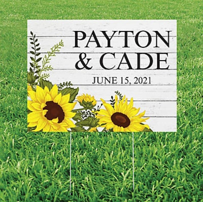 Personalized Rustic Sunflower Yard Sign