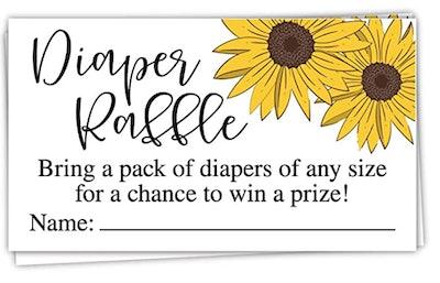 50 Sunflower Diaper Raffle Tickets