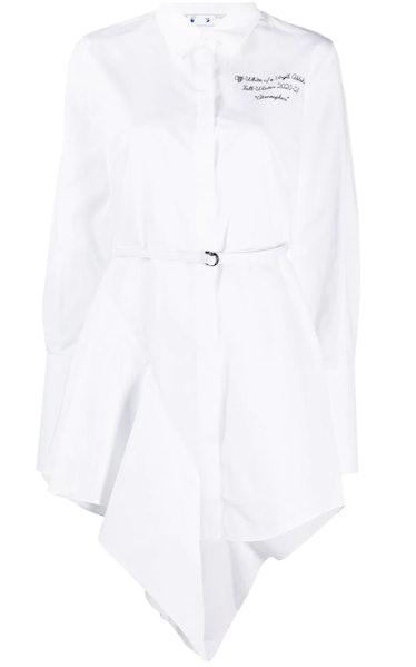 Off-White's asymmetric-hem mini shirt dress.