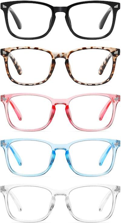 CCVOO Blue Light Blocking Reading Glasses (5-Pack)