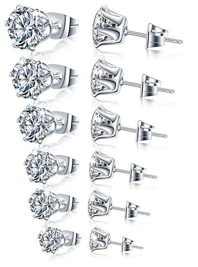 Manufac Stainless Steel Stud Earrings (6 Pairs)