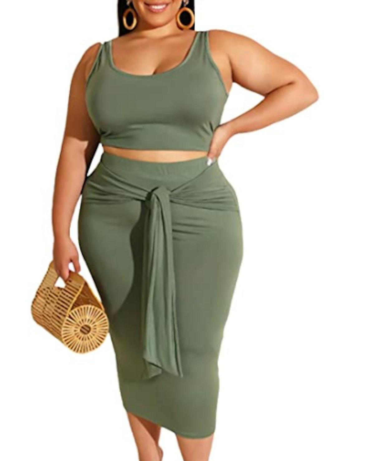 xxxiticat Crop Top and Skirt Set