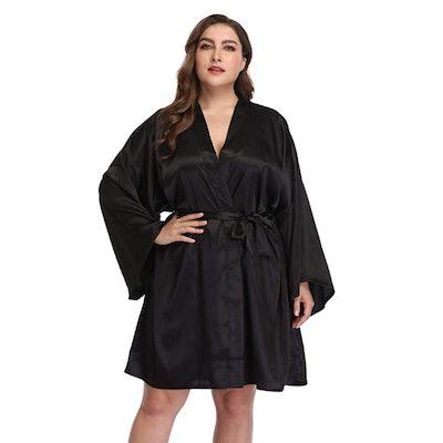 Women's Plus Size Satin Robe