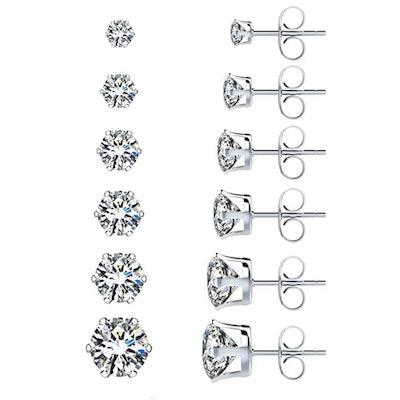 UHIBROS Hypoallergenic Stud Earrings (6 Pairs)