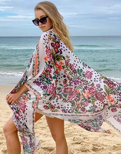 Hibluco Chiffon Floral Kimono