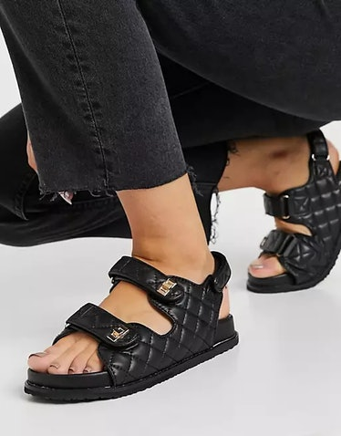 Chunky Carmen grandad sandals in black quilt from Pubic Desire, available on ASOS.