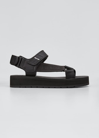 Logo nomad chunky sandals from Prada, available on Bergdorf Goodman.