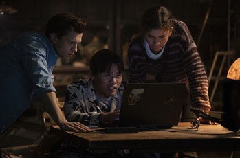 Tom Holland, Jacob Batalon, and Zendaya in Spider-Man: No Way Home