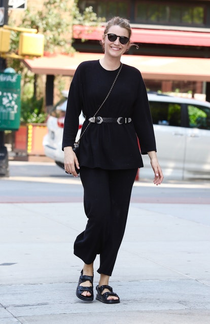 Blake Lively wears black puffy dad sandals from Chanel while out and about in New York City on July ...
