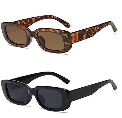 Retro Rectangle Sunglasses (2 Pack)