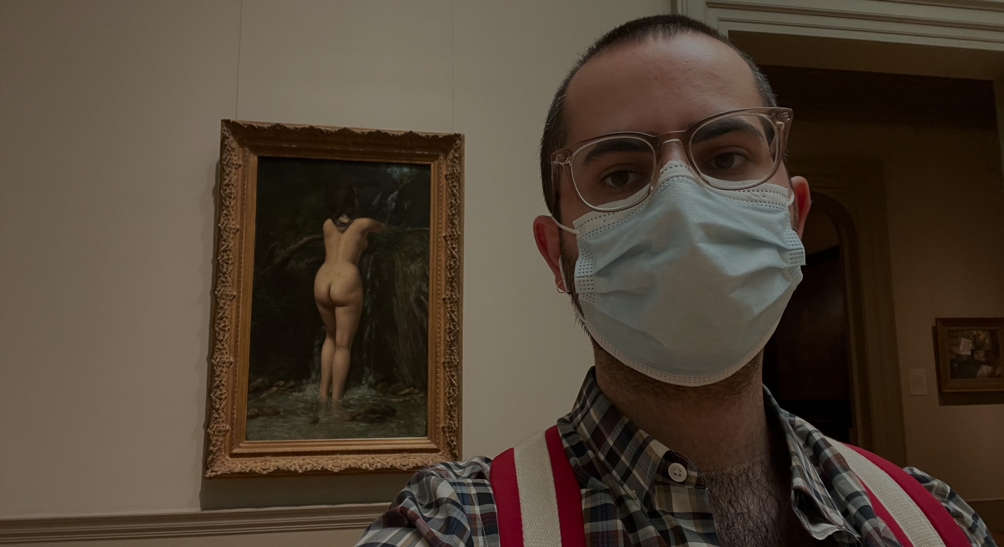 Author Matt Wille in front of Gustave Courbet's The Source (1862), at The Metropolitan Museum of Art