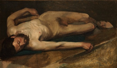 Edgar Degas unfinished painting Male Nude (1856)