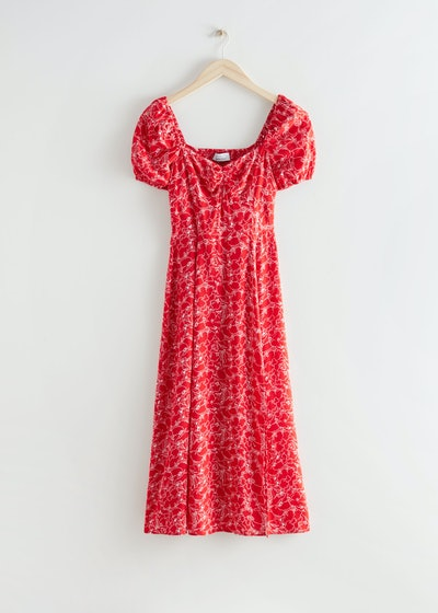 & Other Stories Red Floral Dress