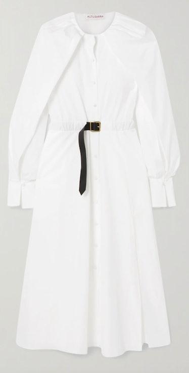 Altuzarra's modernized shirt dress with a buckled strap.