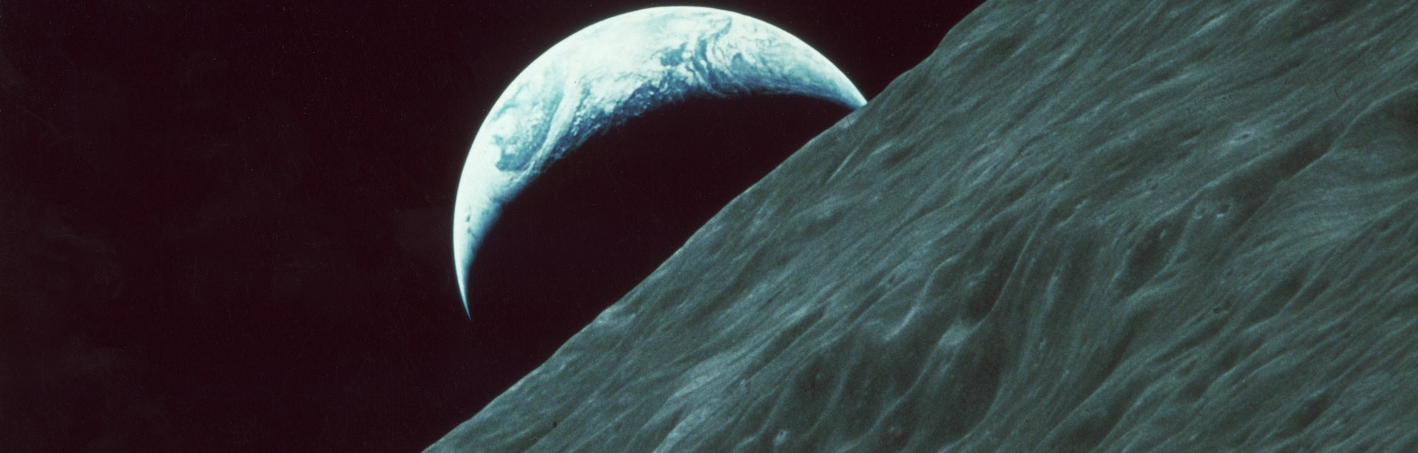 The planet Earth as seen from the surface of the moon during the Apollo 17 lunar landing mission, De...