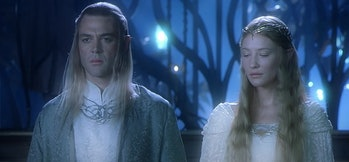 Marton Csokas and Cate Blanchett in Lord of the Rings: Fellowship of the Ring