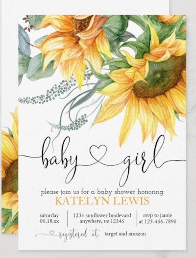 Sunflower Baby Shower Invitation for a Girl