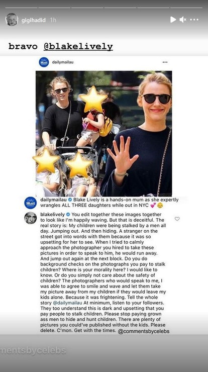 Gigi Hadid supports Blake Lively in an Instagram story.