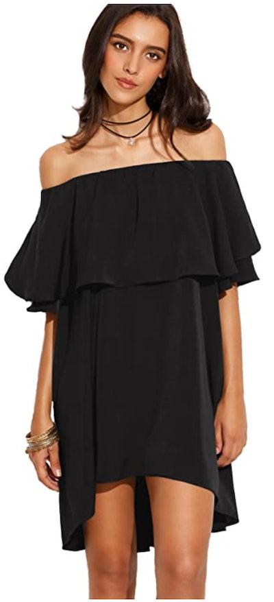 Romwe Off The Shoulder Ruffle Dress