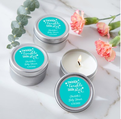 travel tin candles for baby showers