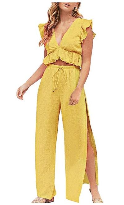 FANCYINN Crop Top and Wide Leg Pant Outfit Set