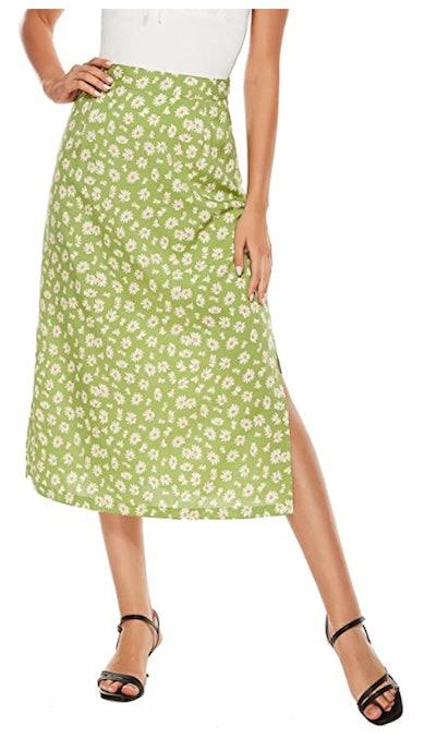 LYANER High Waist Midi Skirt