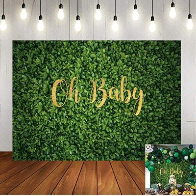 outdoor baby green leaves backdrop