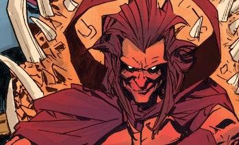 Mephisto sitting on his throne in Deadpool vs. Thanos Vol 1 #3