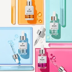 IT cosmetics serums on colored squared