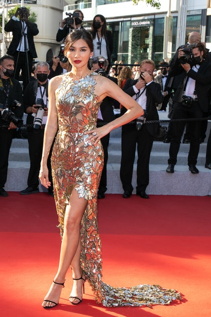 """Gemma Chan attends the final screening of """"OSS 117: From Africa With Love"""" and closing ceremony during the 74th annual Cannes Film Festival on July 17, 2021 in Cannes, France."""