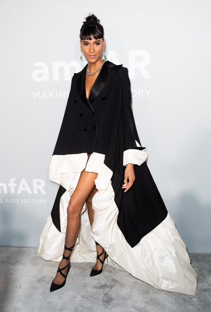 Cindy Bruna attends the amfAR Cannes Gala 2021 during the 74th Annual Cannes Film Festival at Villa ...