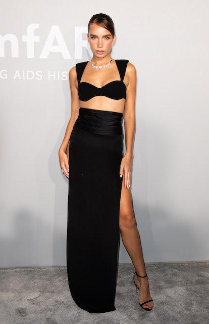 Hana Cross attends the amfAR Cannes Gala 2021 during the 74th Annual Cannes Film Festival at Villa E...