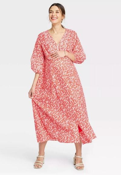 floer length poplin maternity dress in red floral print